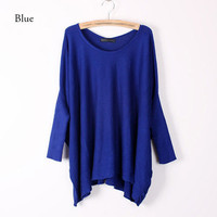 Women Tops Oversized Layering Knit Sweater Pullover loose Sleeve Batwing Coat