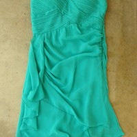 Pleats and Ruffles Dress in Teal [2504] - &amp;#36;36.00 : Vintage Inspired Clothing &amp; Affordable Summer Dresses, deloom | Modern. Vintage. Crafted.