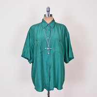 100% Silk Shirt Green Silk Blouse 80s Oversize Shirt Slouchy Shirt Tunic Forest Green Shirt 80s 90s Grunge Shirt Women L XL Extra Large XXL