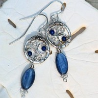 Artisan Kyanite Earrings Wire Wrapped Sterling Silver with Blue Lapis | OwlHollowStudio - Jewelry on ArtFire