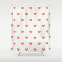 Cute Pink Hearts Pattern Shower Curtain by Tees2go | Society6