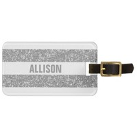 Sparkle Glitter Look Stripes Luggage Tag