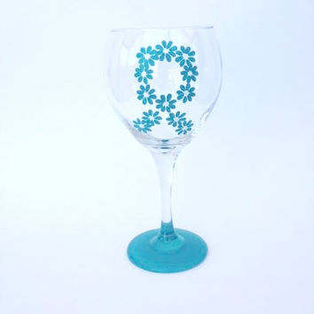 Ovarian cancer awareness teal ribbon flower hand painted wine glass
