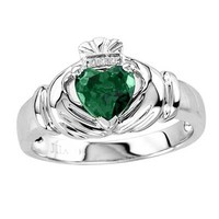 Men's 7.0mm Heart-Shaped Simulated Emerald and Diamond Accent Comfort Fit Claddagh Ring in Sterling Silver