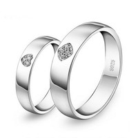 Heart Celebrity Diamond Wedding Bands Set with Names Engraved