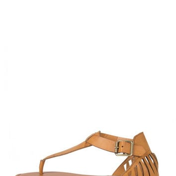 Cut Out Fang Sandals - Tan - Tan /