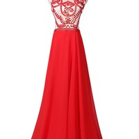Ansen Women's Red Statement A-line Chiffon Prom Gown Lf-a016