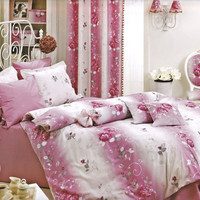 NEW DESIGN Custom Queen or Full Size, Silver Grey and Pink Roses Printed Bedding Set