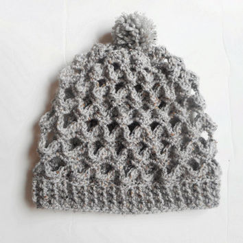 Grey Tweed Lacy Crochet Slouch Hat, ready to ship.