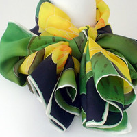 "Luxury Yellow And Green Silk Scarf, Lotus Flower Scarf, Floral Yellow Waterlily Silk Scarf, Ready to Ship Approx 16"" x 58"" ( 40 x 148 cm)"