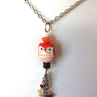 Little red ceramic owl necklace, owl necklace, bird necklace, red necklace, owl pendant, orange necklace, gifts for her, red owl necklace