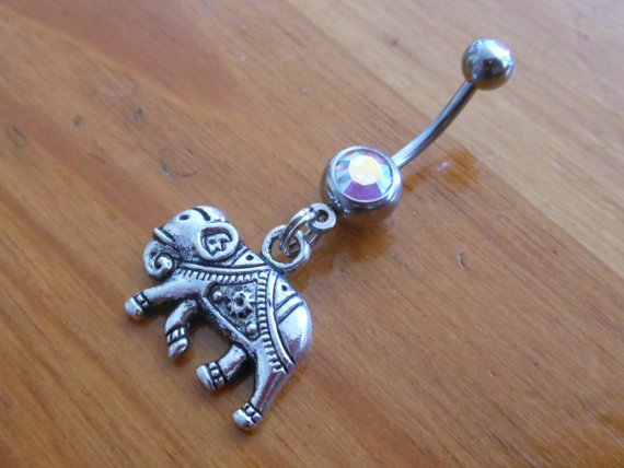 Belly Button ring  Elephant with Clear AB Gem by ChelseaJewels