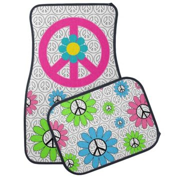 Retro Peace Sign Floor Mats
