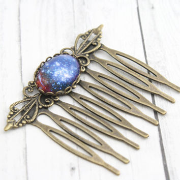 Galaxy Hair Comb, Gypsy Wedding Hair, Boho Gypsy Chic Hair