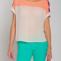 Colorblocking Cut Up Top