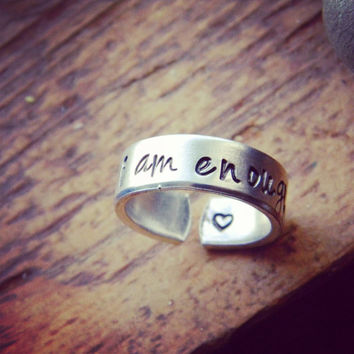 I am enough   aluminum cuff style ring 1/4 inch