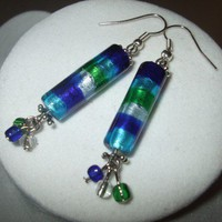 NEW Cool Off -Cylinder Blue Green and Silver Dangle Drop Earrings | DesignsByAmyB - Jewelry on ArtFire