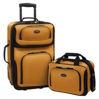 U.S. Traveler Rio 2 pc Expandable Carry-On Luggage Set - Orange/Mustard