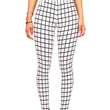 Grid Line Legging Pants | Trendy Bottoms at Pinkice.com