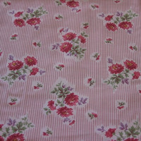 Pink Stripes Vintage Fabric with Maroon and Purple Flowers - 2 YARDS 15 INCHES