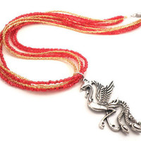 Phoenix Necklace with Silver Phoenix Charm and Beaded by Septagram
