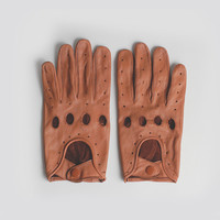 The Genuine Leather Full Driving Gloves in Tan Leather