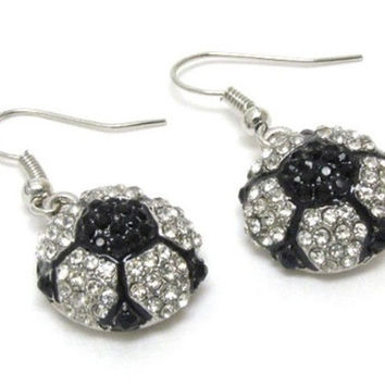 Crystal Accented Soccer Ball Dangle Earrings