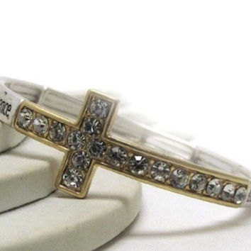 Inspirational 'Serenity Prayer' Gold Crystal Cross Engraved Stretch Bracelet