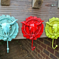 Set of three- Longhorn Skull Wall Hooks: Red, Aqua Blue, Lime Green by AquaXpressions