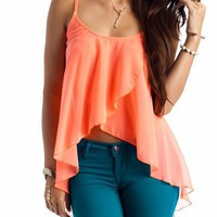 semi-sheer tulip front top &amp;#36;24.80 in LIME NAVY NEONCORAL - Sleeveless | GoJane.com