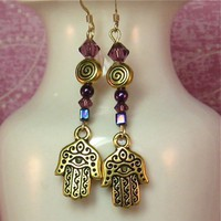 Hamsa & Amethyst Earrings | SolanaKaiDesigns - Jewelry on ArtFire