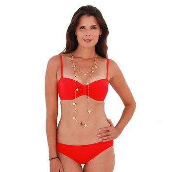 Aspiga | Luxury Bandeau Red Two-Piece Bikini by Moontide