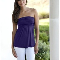 RUCHED OPEN BACK STRAPLESS TOP | Body Central