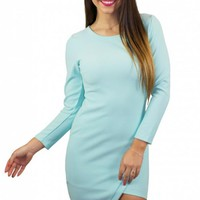 Light Blue Asymmetrical Hemline Dress