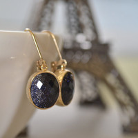 Lapis Deep Blue Framed Glass Earrings, Galaxy Constellation Stone Gold Fill Lever Back, Bridesmaid Earrings