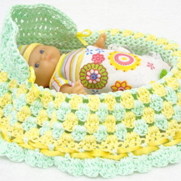 crocheted purse cradle purse drawstring, handbag, girls purse, church purse, baby doll, BG#44
