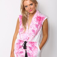Pink Floral Printed White Playsuit