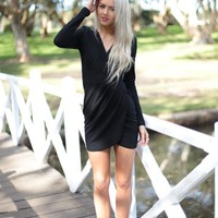 Black Long Sleeved Cross Over Design Dress