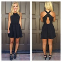 Jigsaw Textured Cross Back Dress - BLACK