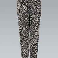 Black and White Paisley Print Harem Trousers