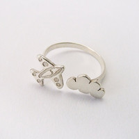 Airplane Flying Cloud Sterling silver adjustable ring by MIKOTITI