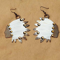 Native American Accessories , Chief Joseph Earrings, Ivory