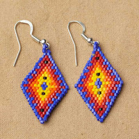 Geometric Beaded Diamond Earrings, Blue, native american jewelry