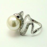 Snake Rind With Pearl and Swarovski crystals Silver Plated size 8 | tvkstyle - Jewelry on ArtFire