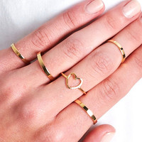 HEART SILHOUETTE RING SET - GOLD - One
