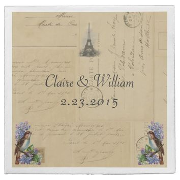 Paris Postcard Bird on Lilacs Wedding Napkin