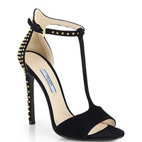 Studded Suede T-Strap Sandals