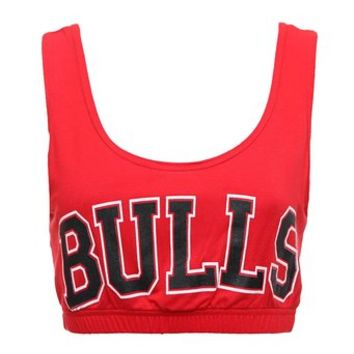 Forever Womens Celeb Miley Cyrus Inspired Bulls Print Sport Bra Crop Top