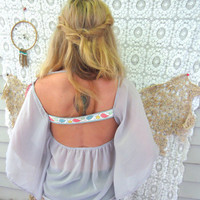 $50.00 Lace and Sheer Angel Sleeve Flowy Boho by MountainGirlClothing