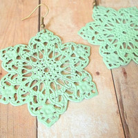 F R E S H  Mint Green Lace Flower Hand by handmadebyfirefli